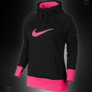 Women's Nike Therma Fit Hoodie Black and Hot Pink